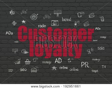 Advertising concept: Painted red text Customer Loyalty on Black Brick wall background with  Hand Drawn Marketing Icons