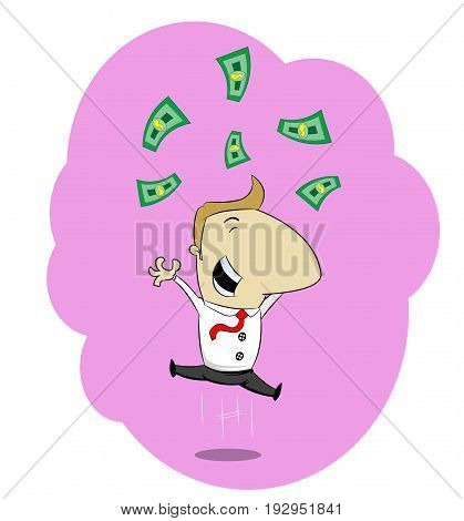 Happy businessman jumping in joy surrounded by money, Success concept illustration. Vector