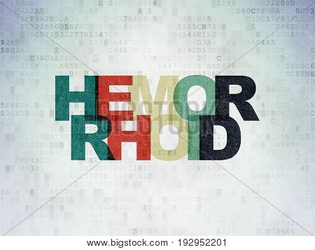 Healthcare concept: Painted multicolor text Hemorrhoid on Digital Data Paper background
