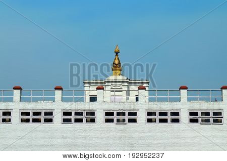 Maya Devi Temple - birthplace of Buddha Siddhartha Gautama. Lumbini, Nepal. Close up