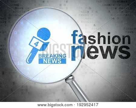 News concept: magnifying optical glass with Breaking News And Microphone icon and Fashion News word on digital background, 3D rendering