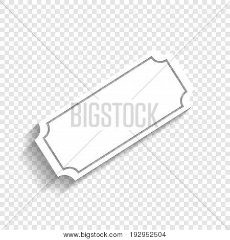 Ticket sign illustration. Vector. White icon with soft shadow on transparent background.