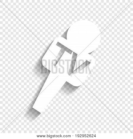 TV microphone sign illustration. Vector. White icon with soft shadow on transparent background.