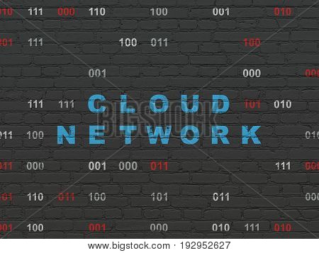 Cloud technology concept: Painted blue text Cloud Network on Black Brick wall background with Binary Code