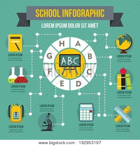 School infographic banner concept. Flat illustration of school infographic vector poster concept for web