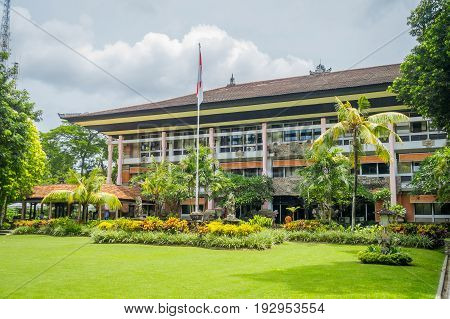 BALI, INDONESIA - MARCH 08, 2017: Beautiful governor building with garden in Denpasar CIty in Bali, Indonesia.