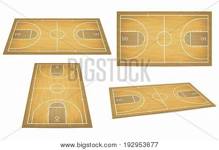 Basketball court with wooden floor. View from above and perspective isometric view. Vector