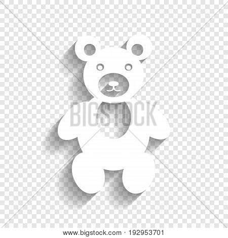 Teddy bear sign illustration. Vector. White icon with soft shadow on transparent background.