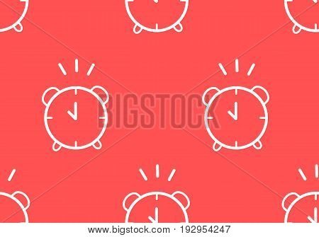 Seamless pattern with contour alarm clock. Thin line flat design. Vector.