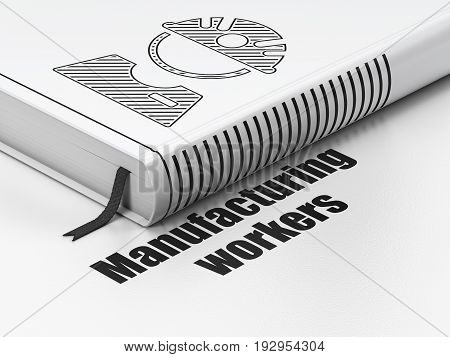 Manufacuring concept: closed book with Black Factory Worker icon and text Manufacturing Workers on floor, white background, 3D rendering