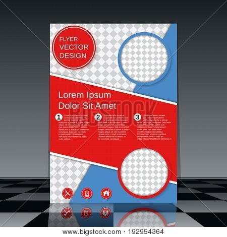 Save Download Preview Professional business flyer vector template. Abstract blue-red geometric background