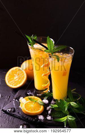 Aperitif With Vodka, Orange Juice And Mint. Screwdriver Cocktail