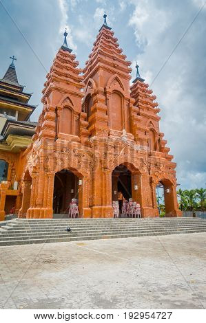 BALI, INDONESIA - MARCH 08, 2017: External view of the Katedral Roh Kudus, Catholic Church, located in Denpasar in Indonesia.