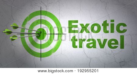 Success travel concept: arrows hitting the center of target, Green Exotic Travel on wall background, 3D rendering