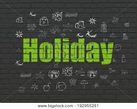 Travel concept: Painted green text Holiday on Black Brick wall background with  Hand Drawn Vacation Icons