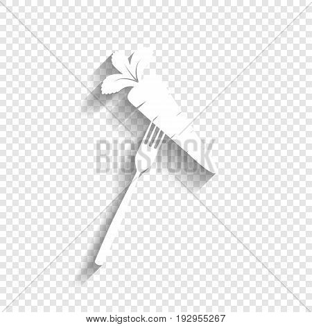 Vegetarian food sign illustration. Vector. White icon with soft shadow on transparent background.