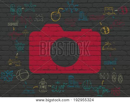 Travel concept: Painted red Photo Camera icon on Black Brick wall background with Scheme Of Hand Drawn Vacation Icons