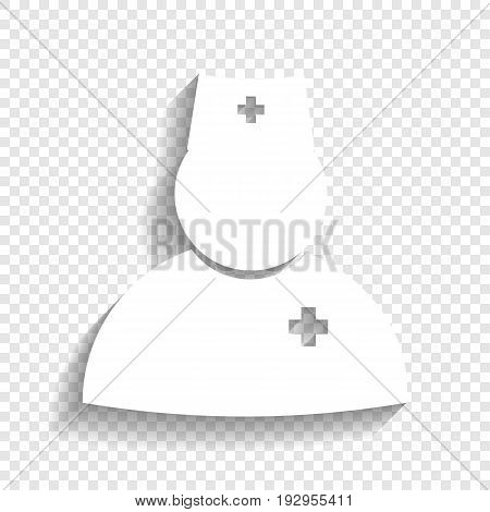 Doctor sign illustration. Vector. White icon with soft shadow on transparent background.