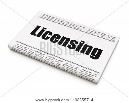 Law concept: newspaper headline Licensing on White background, 3D rendering