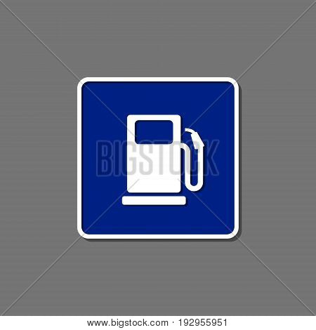 Gas station blue road sign on grey. Vector isolated ilustration.