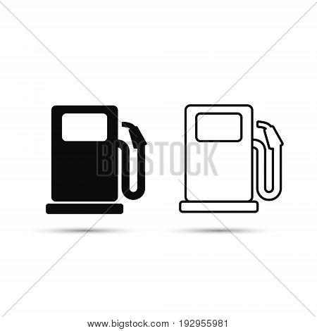 Gas station line icon set vector illustration isolated on white.