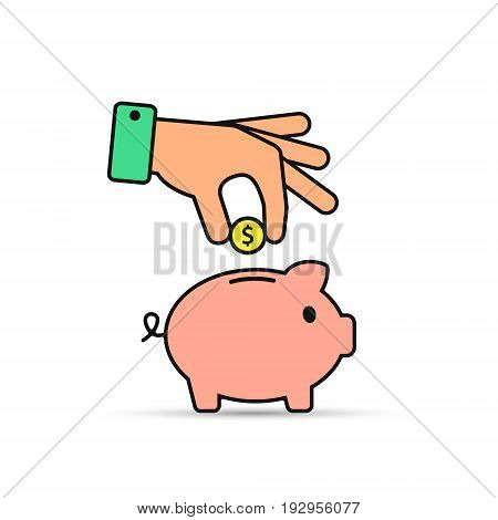 Piggy bank and hand with coin color icon with stroke. Vector.