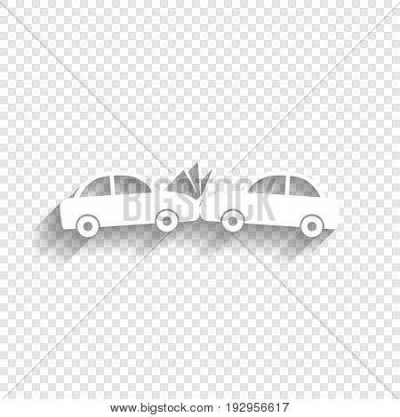 Crashed Cars sign. Vector. White icon with soft shadow on transparent background.