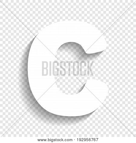 Letter C sign design template element. Vector. White icon with soft shadow on transparent background.