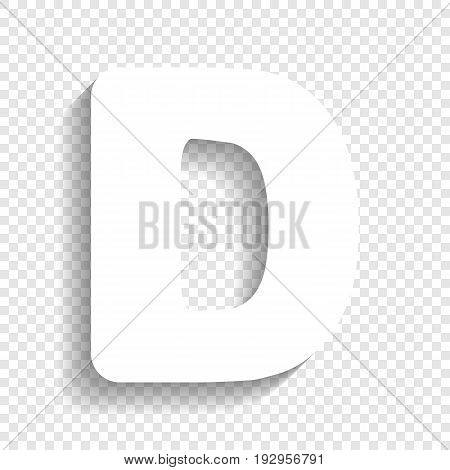 Letter D sign design template element. Vector. White icon with soft shadow on transparent background.