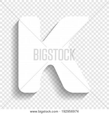 Letter K sign design template element. Vector. White icon with soft shadow on transparent background.