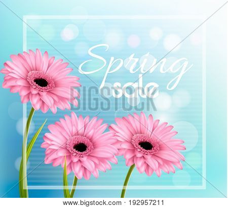 Pink gerbera daisies on a blue bokeh background. Spring sale vector.