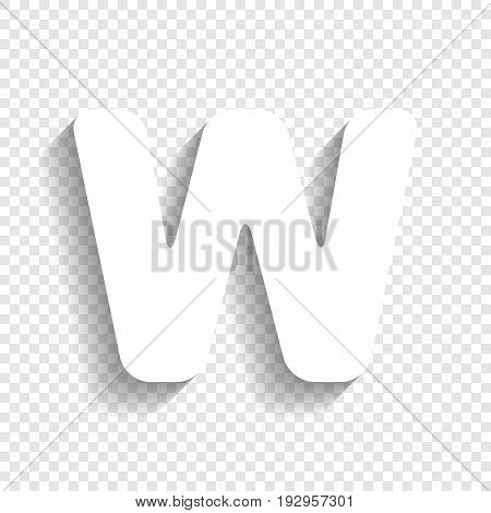 Letter W sign design template element. Vector. White icon with soft shadow on transparent background.
