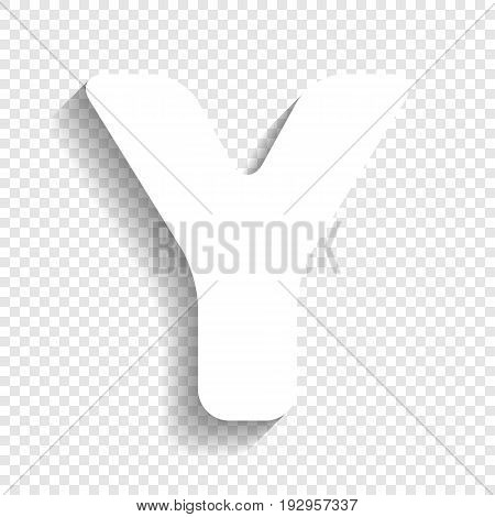Letter Y sign design template element. Vector. White icon with soft shadow on transparent background.