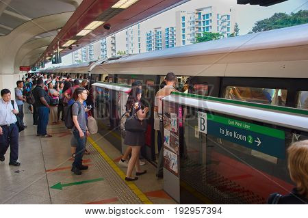 People Boarding Subway Train. Singapore