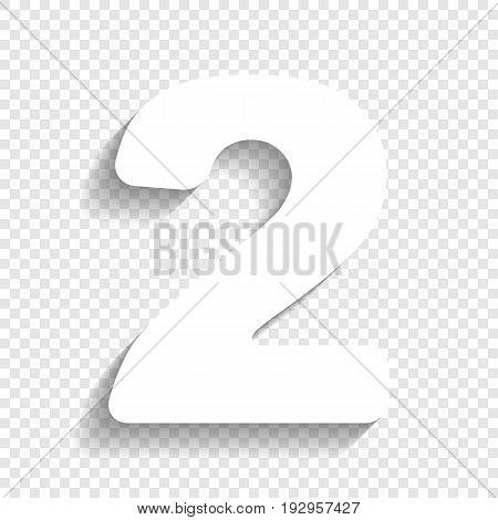 Number 2 sign design template elements. Vector. White icon with soft shadow on transparent background.