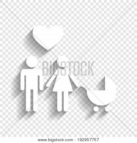 Family symbol with pram and heart. Husband and wife are kept each other's hands. Love. Vector. White icon with soft shadow on transparent background.