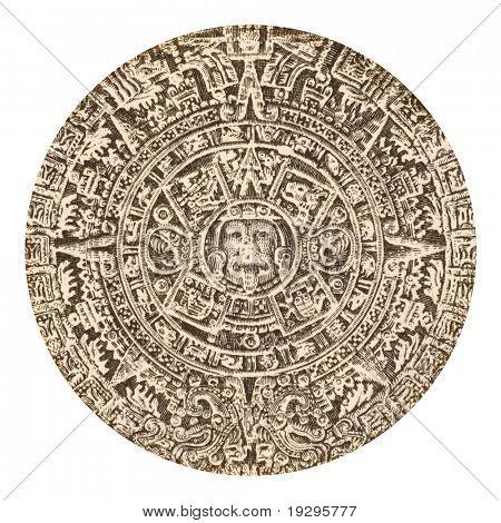 Aztec calendar sun stone on 500 pesos 1984 banknote from Mexico