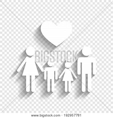 Family symbol with heart. Husband and wife are kept children's hands. Vector. White icon with soft shadow on transparent background.