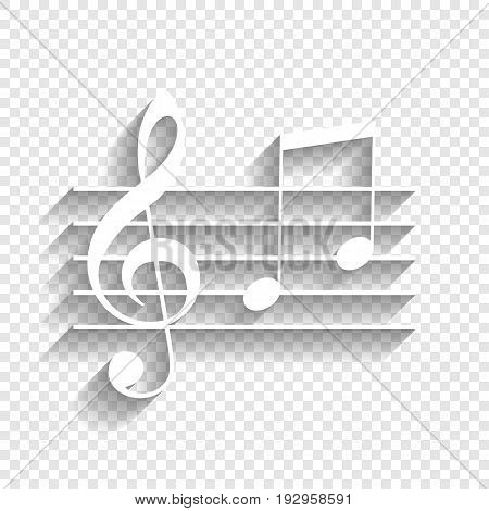 Music violin clef sign. G-clef and notes G, H. Vector. White icon with soft shadow on transparent background.