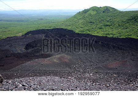 Cerro Negro Volcano Near Leon In Nicaragua, A Popular Place For Tourists To Do Volcano Boarding