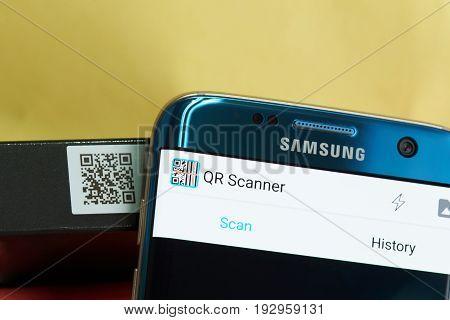 New york, USA - June 27, 2017: QR scanner mobile app close-up. Scanning product QR code