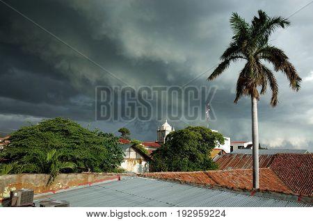 A tropical blows storm over Leon Nicaragua