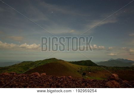 The Starry View At Night From Volcan Telica Near Leon In Nicaragua, An Active Volcano