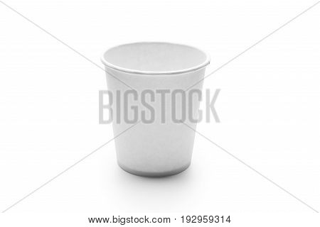 White Paper Cup isolated on white background.