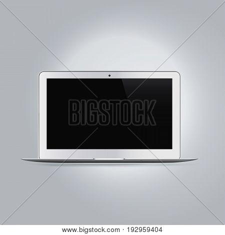 Realistic laptop computer device mockup vector illustration.