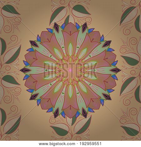Hand drawn seamless flower illustration. Seamless pattern abstract floral background. Vector sketch of many abstract flowers in colors.