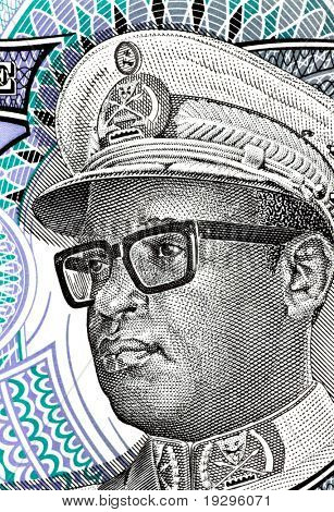 ZAIRE - CIRCA 1993: Mobutu on 5 nouveaux makuta 1993 banknote from Zaire. President of Zaire during 1965-1997.