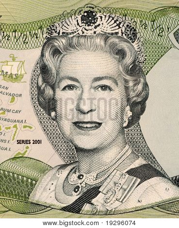 BAHAMAS - CIRCA 2001: Queen Elizabeth II on 50 Cents 2001 Banknote from Bahamas.