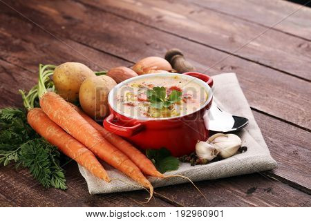 Barley And Vegetable Thick Healthy Soup. Krupnik Thick Polish Soup Made From Vegetable Or Broth, Con