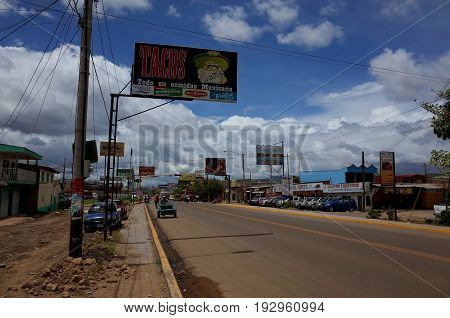 18TH AUGUST 2014 ESTELI NICARAGUA - The Pan American Highway running through the northern Nicaraguan city of Esteli towards the border with Honduras